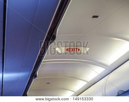 Exit Light emergency on plane, emergency sign