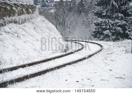 Railroad Tracks Covered By Snow