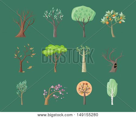 Set of tree icons. Tree with green leaves. Maple, oak, birch, sakura, willow, poplar vector tree round icon. Tree forest, leaf tree isolated, falling autumn leaves, plant eco branch tree.