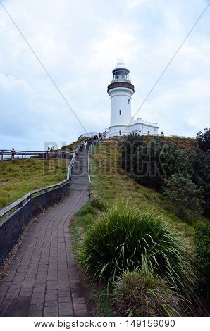 Scenic Hill Approaching White Byron Bay Lighthouse
