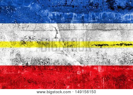 Flag Of Mecklenburg-western Pomerania, Germany, Painted On Dirty Wall