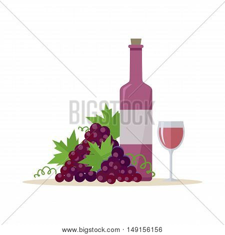 Bottle of red wine and wineglass with bunches of wine grapes. Bottle with label and glass of red wine. Wineglass full of red wine. Wine icon. Vineyard grape icon. Red grapes icon.