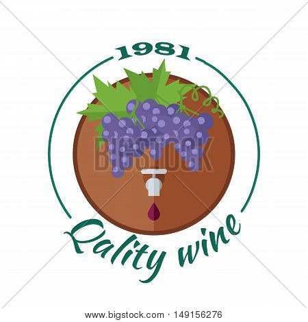 Quality wine 1981. For labels, tags, tallies, posters, banners of check elite vintage wines. Logo icon symbol. Winemaking concept. Part of series of viniculture production and preparation items. Vector