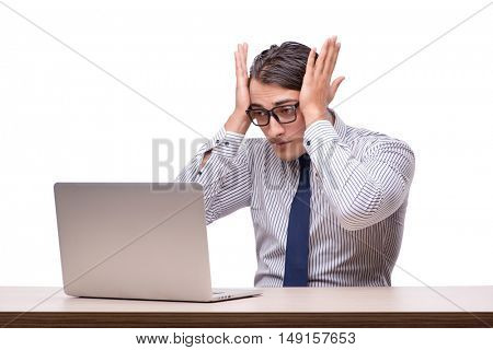 Handsome businessman working with laptop computer isolated on wh