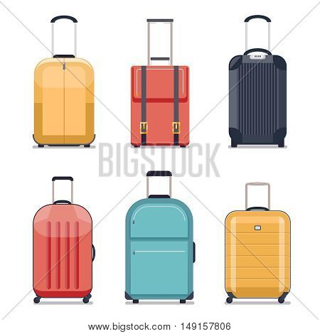 Travel luggage or travel suitcase icons. Luggage set for vacation and journey. Vector illustration