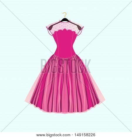 Pink prom party dress. Vector fashion illustration
