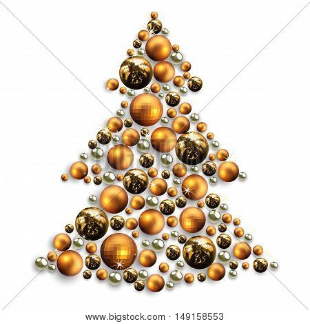 decorative Christmas tree made of golden balls