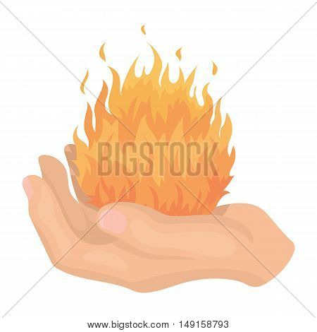 Fire spell icon in cartoon style isolated on white background. Black and white magic symbol vector illustration.