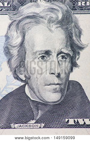 Former US president Andrew Jackson on the twenty dollar note.