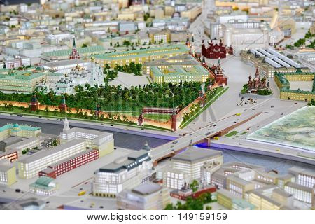 MOSCOW, RUSSIA - DEC 20, 2014: Vasilevsky descent, Red square, Kremlin and St. Basil Cathedral on Moscow layout at VDNKH exhibition.