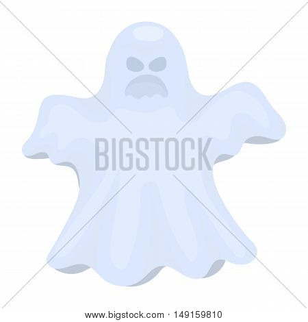 Ghost icon in cartoon style isolated on white background. Black and white magic symbol vector illustration.