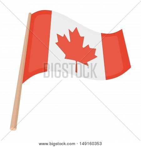 Canadian flag icon in cartoon style isolated on white background. Canadian Thanksgiving Day symbol vector illustration.