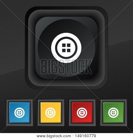 Sewing Button Symbol. Set Of Five Colorful, Stylish Buttons On Black Texture For Your Design. Vector