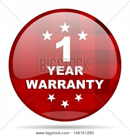 warranty guarantee 1 year red round glossy modern design web icon