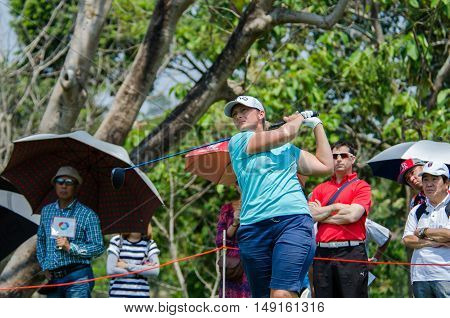 CHONBURI - FEBRUARY 28 : Angela Stanford of USA in Honda LPGA Thailand 2016 at Siam Country Club Pattaya Old Course on February 28 2016 in Chonburi Thailand.