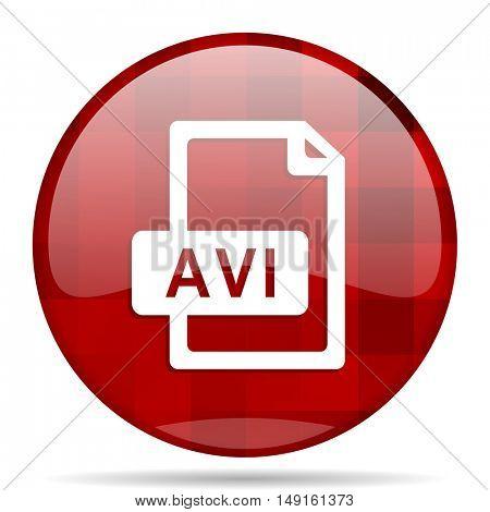 avi file red round glossy modern design web icon