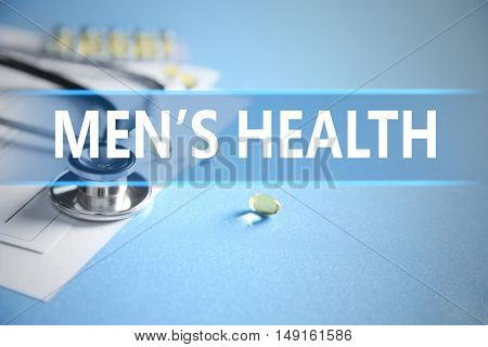 Stethoscope and medical equipment on a light blue background. Urology concept