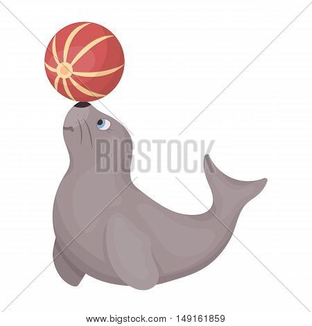 Trained fur seal icon in cartoon style isolated on white background. Circus symbol vector illustration.