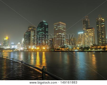 City scape at night.The park in bangkok