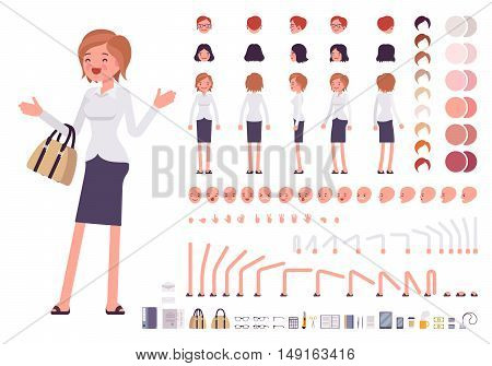 Female clerk character creation set. Build your own design. Cartoon vector flat-style infographic illustration