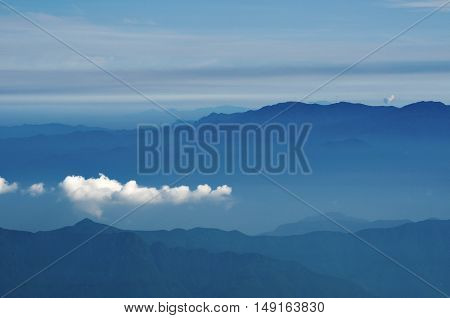 white cloud formation above the mountain ridge