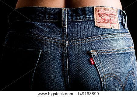Estonia, Tallinn, 12.14.2015. Levis jeans Selective focus