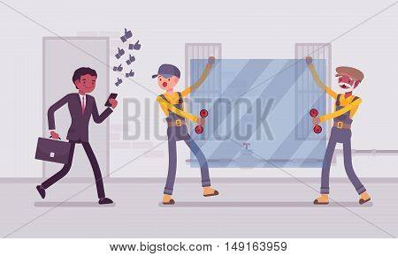 Man walks with smartphone to crash into a sheet of glass. Cartoon vector flat-style concept illustration