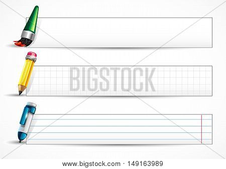 White banners with school items on white background