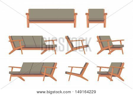 Set of retro green divan and armchair isolated against white background. Cartoon vector flat-style illustration