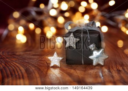 Christmas still life with starlights on a wooden table