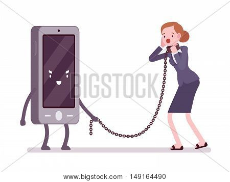 Woman in a metall collar is slaved by her smartphone. Cartoon vector flat-style concept illustration