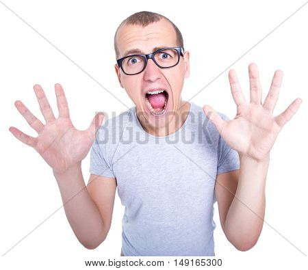 Nerd - Funny Young Man In Glasses With Braces On Teeth Screaming Isolated On White