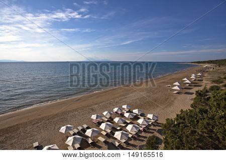 Long way sandy beach in Peloponesse, Greece
