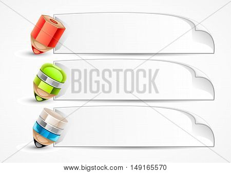 Three stylized pencils with papers on white background