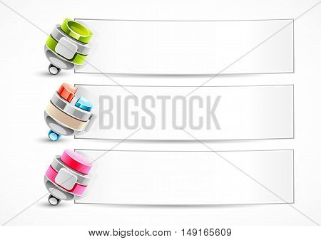Three stylized pens with papers on white background
