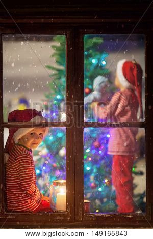 Sweet Children, Decorating Christmas Tree, Impatiently Waiting For Santa Claus