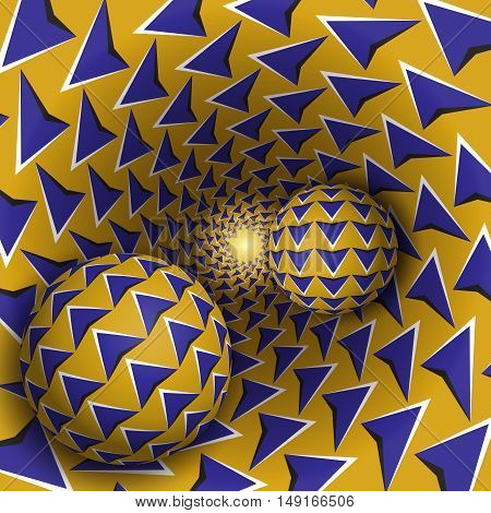 Optical illusion illustration. Two balls with arrows pattern are moving on rotating blue arrows yellow funnel. Abstract fantasy in a surreal style.
