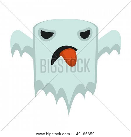 white Ghost character in cartoon and flat style for festive Hallowen design