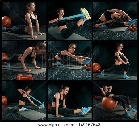 The collage from images of beautiful young slim woman doing some gymnastics at the gym with fitball