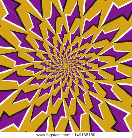 Optical illusion background. Purple lightnings revolves circularly around the center on golden background. Purple stars background.