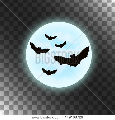 Vector bats with moon. Silhouettes bats isolated on transparent background. Blue and black image. Halloween illustration.