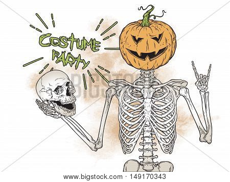 Human skeleton with halloween pumpkin instead of head isolated posing over grunge background vector. Halloween costume party flyer design illustration