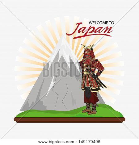 Samurai man cartoon icon. Japan and asian culture theme. Colorful design. Vector illustration