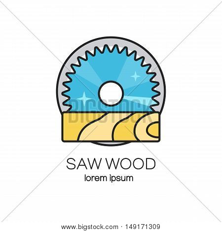 Saw wood logotype design templates. Wood work and manufacture label. Woodworking badge for your business.