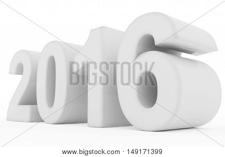 year 2016 white numbers isolated on white