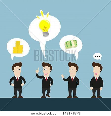 businessman talk about new great idea. but some don't like it because of money.
