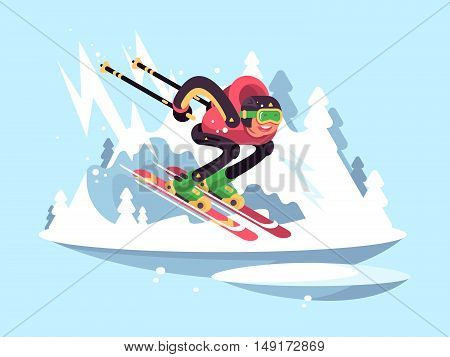 Man skiing in winter. Skier quickly down from mountain. Vector illustration