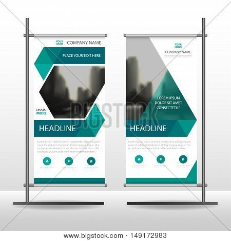 Green hexagon Business Roll Up Banner flat design template Abstract Geometric banner template Vector illustration set abstract presentation brochure flyer template vertical template vector