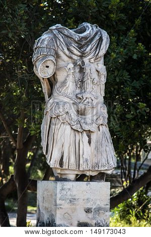 statue of emperor Hadrian in ancient Roman Agora AthensGreece