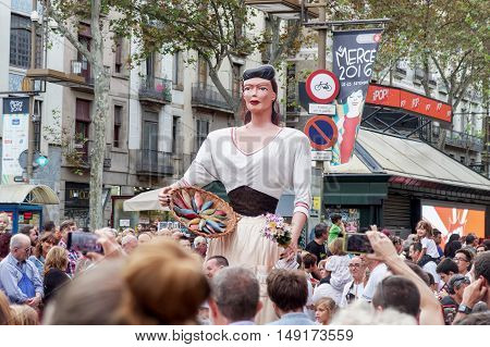 Barcelona, Spain - 24 September 2016 : La Merce Annual Festival Giants Parade.